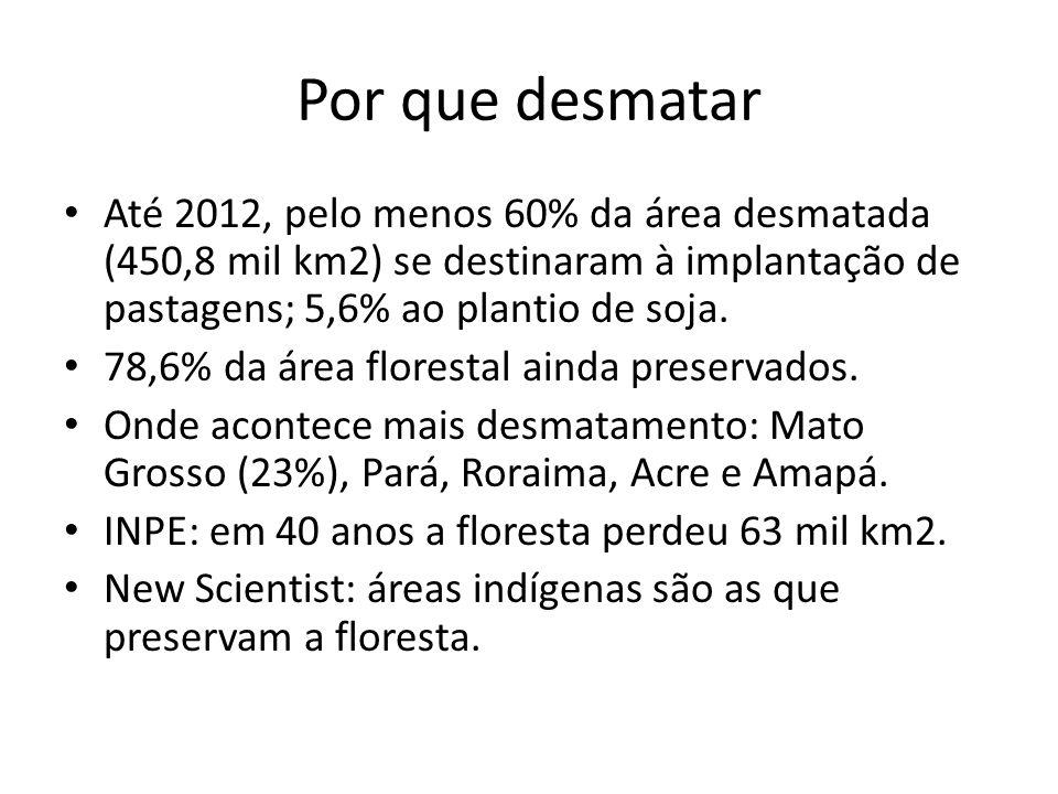 Por que desmatar Até 2012, pelo menos 60% da área desmatada (450,8 mil km2) se destinaram à implantação de pastagens; 5,6% ao plantio de soja. 78,6% d