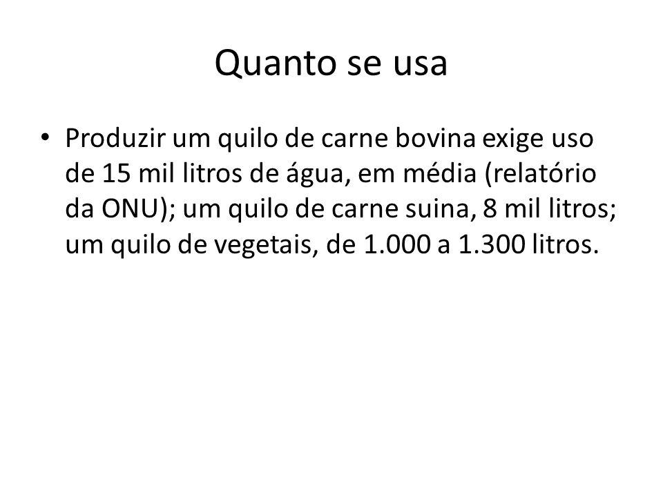 Quanto se usa Produzir um quilo de carne bovina exige uso de 15 mil litros de água, em média (relatório da ONU); um quilo de carne suina, 8 mil litros; um quilo de vegetais, de 1.000 a 1.300 litros.