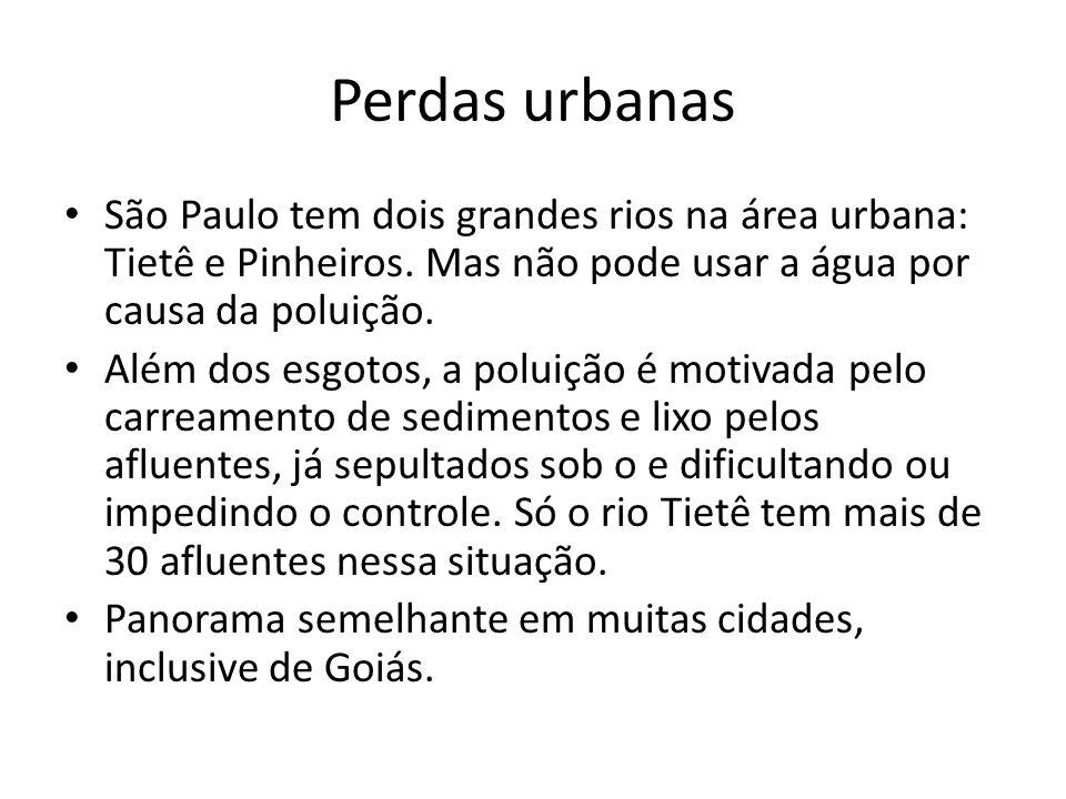 Perdas urbanas São Paulo tem dois grandes rios na área urbana: Tietê e Pinheiros. Mas não pode usar a água por causa da poluição. Além dos esgotos, a
