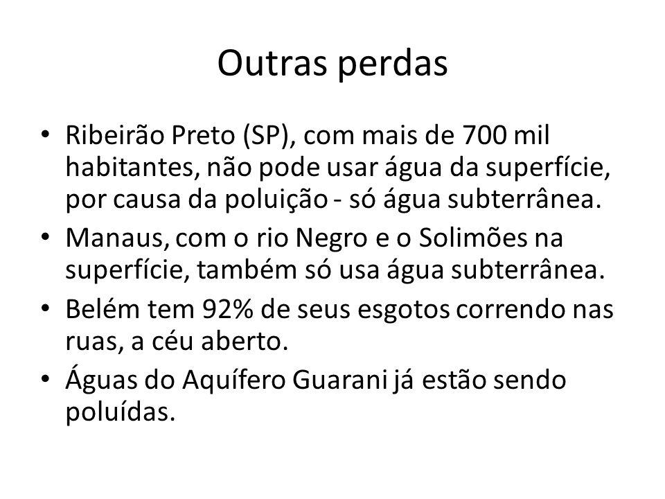 Outras perdas Ribeirão Preto (SP), com mais de 700 mil habitantes, não pode usar água da superfície, por causa da poluição - só água subterrânea. Mana