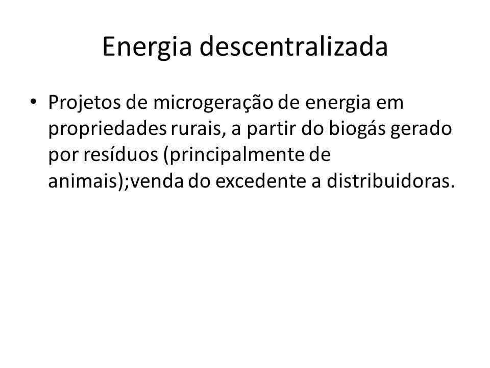 Energia descentralizada Projetos de microgeração de energia em propriedades rurais, a partir do biogás gerado por resíduos (principalmente de animais);venda do excedente a distribuidoras.
