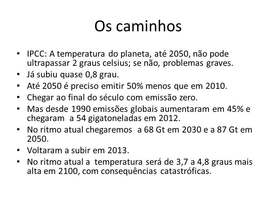 Os caminhos IPCC: A temperatura do planeta, até 2050, não pode ultrapassar 2 graus celsius; se não, problemas graves. Já subiu quase 0,8 grau. Até 205