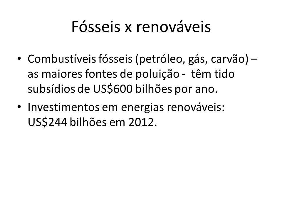 Fósseis x renováveis Combustíveis fósseis (petróleo, gás, carvão) – as maiores fontes de poluição - têm tido subsídios de US$600 bilhões por ano. Inve