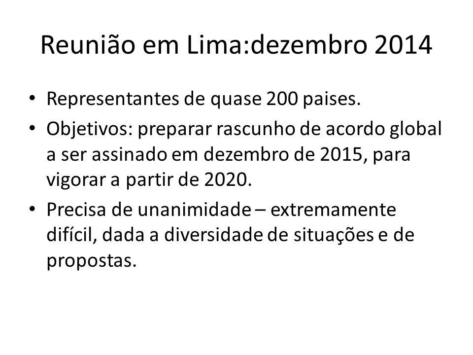 Reunião em Lima:dezembro 2014 Representantes de quase 200 paises. Objetivos: preparar rascunho de acordo global a ser assinado em dezembro de 2015, pa