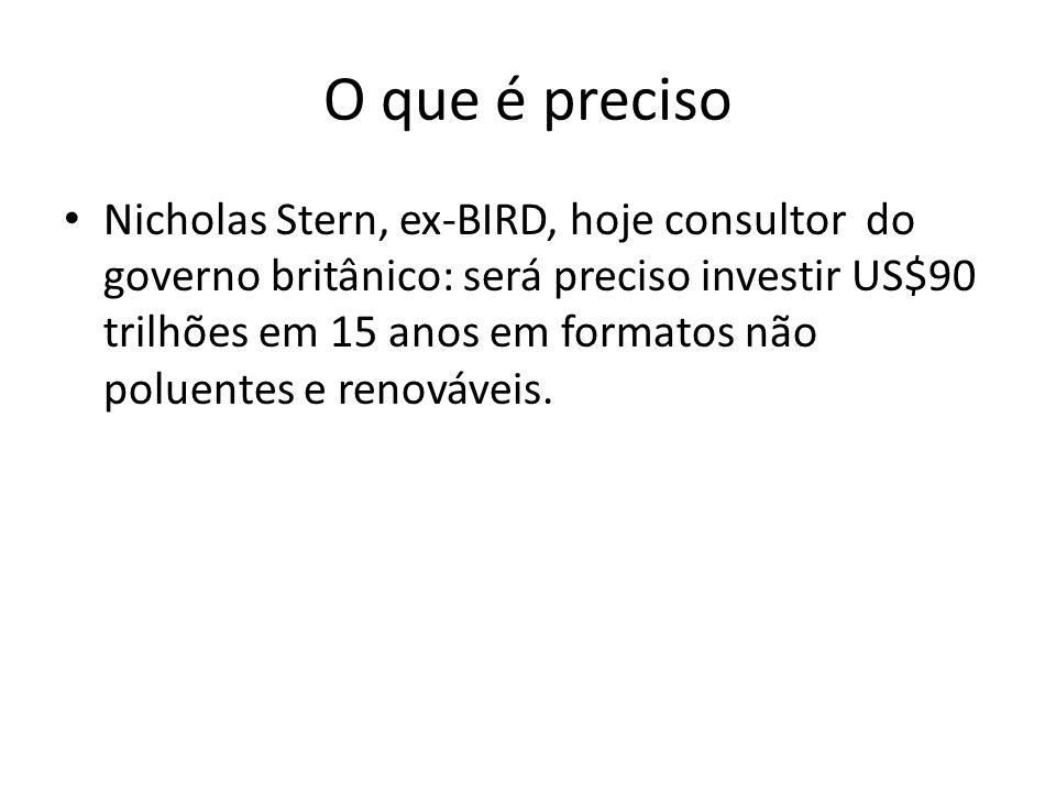 O que é preciso Nicholas Stern, ex-BIRD, hoje consultor do governo britânico: será preciso investir US$90 trilhões em 15 anos em formatos não poluentes e renováveis.