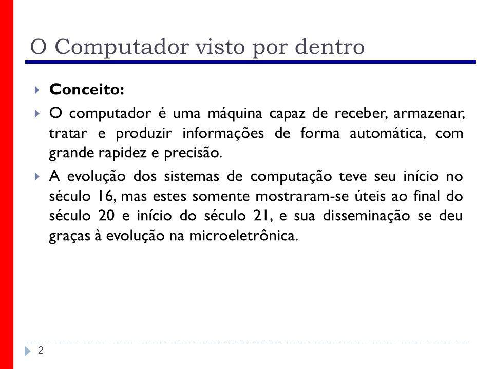 2 O Computador visto por dentro  Conceito:  O computador é uma máquina capaz de receber, armazenar, tratar e produzir informações de forma automátic