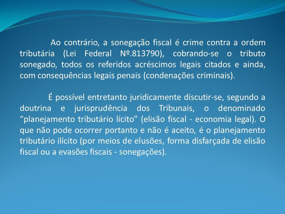 Ao contrário, a sonegação fiscal é crime contra a ordem tributária (Lei Federal Nº.813790), cobrando-se o tributo sonegado, todos os referidos acréscimos legais citados e ainda, com consequências legais penais (condenações criminais).
