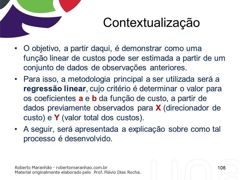 Contextualização O objetivo, a partir daqui, é demonstrar como uma função linear de custos pode ser estimada a partir de um conjunto de dados de obser