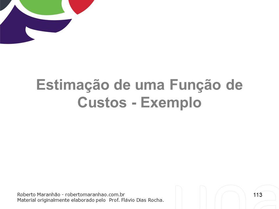 113 Estimação de uma Função de Custos - Exemplo Roberto Maranhão - robertomaranhao.com.br Material originalmente elaborado pelo Prof. Flávio Dias Roch