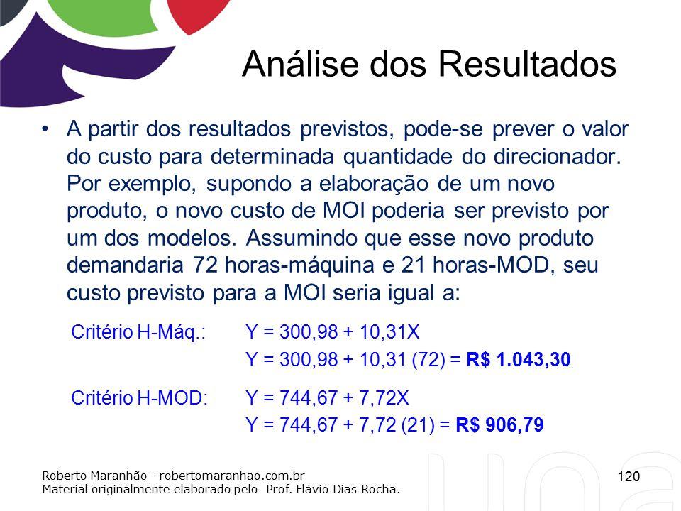 Análise dos Resultados A partir dos resultados previstos, pode-se prever o valor do custo para determinada quantidade do direcionador. Por exemplo, su