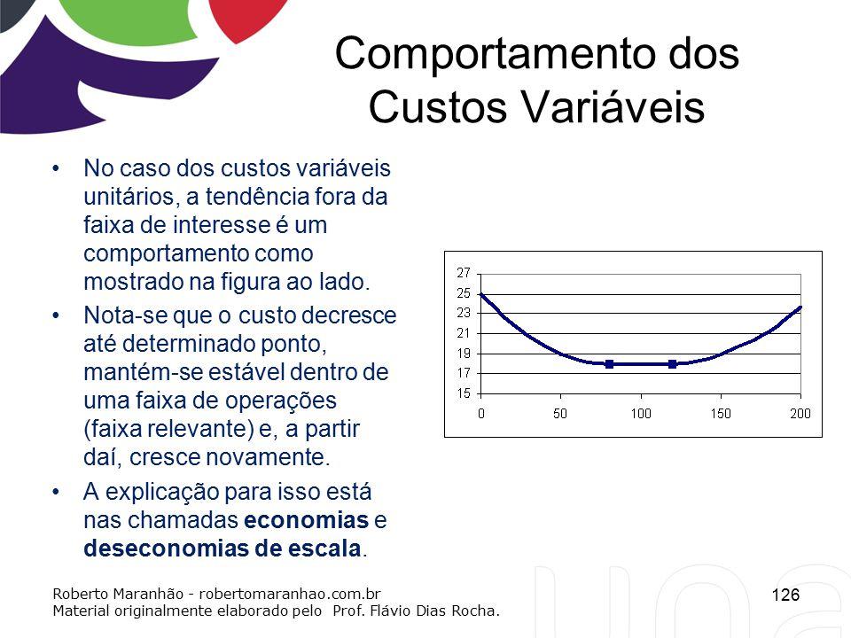 Comportamento dos Custos Variáveis 126 Roberto Maranhão - robertomaranhao.com.br Material originalmente elaborado pelo Prof. Flávio Dias Rocha. No cas