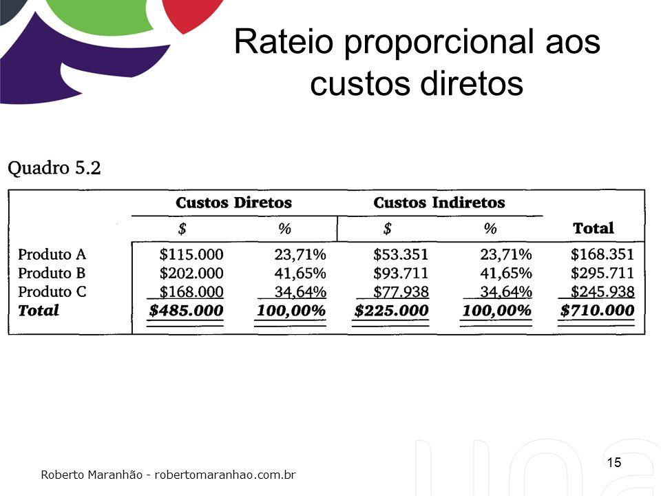 Rateio proporcional aos custos diretos 15 Roberto Maranhão - robertomaranhao.com.br