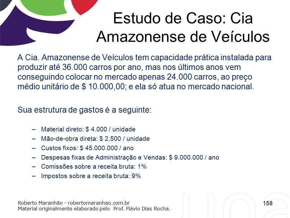 Estudo de Caso: Cia Amazonense de Veículos A Cia. Amazonense de Veículos tem capacidade prática instalada para produzir até 36.000 carros por ano, mas