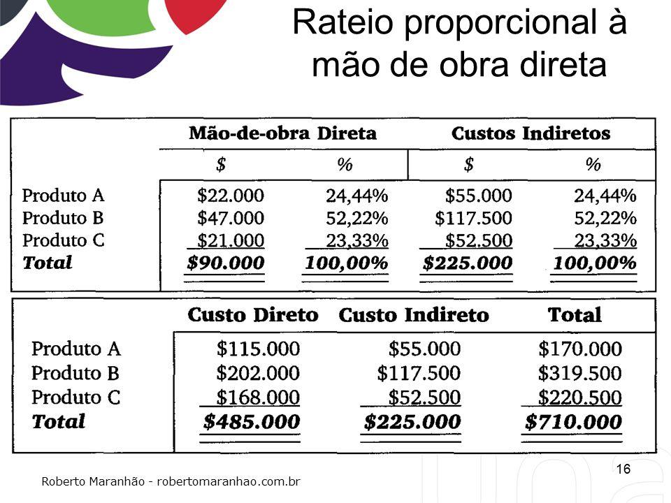 Rateio proporcional à mão de obra direta 16 Roberto Maranhão - robertomaranhao.com.br