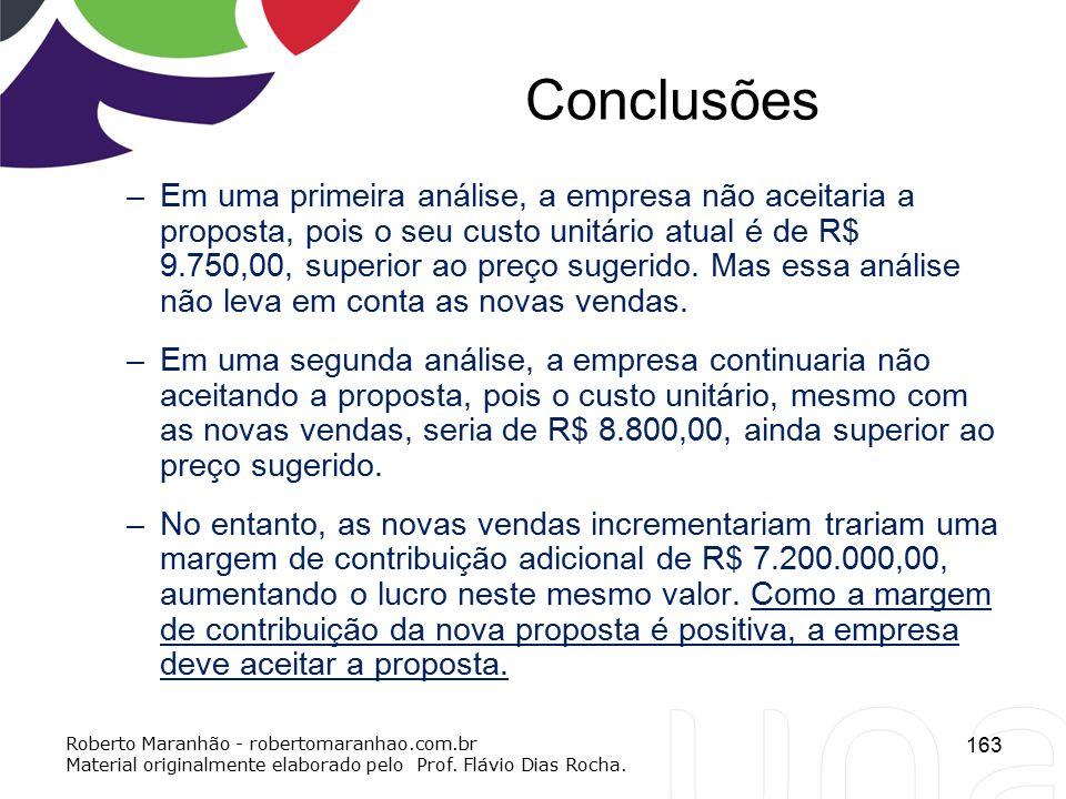 Conclusões –Em uma primeira análise, a empresa não aceitaria a proposta, pois o seu custo unitário atual é de R$ 9.750,00, superior ao preço sugerido.