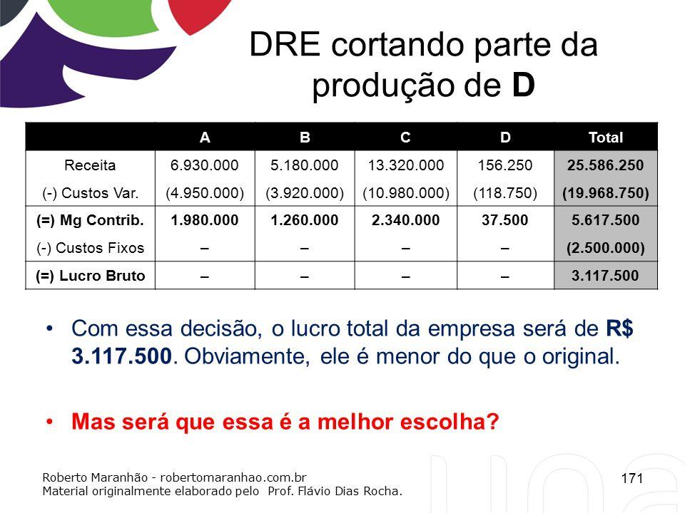 DRE cortando parte da produção de D ABCDTotal Receita6.930.0005.180.00013.320.000156.25025.586.250 (-) Custos Var.(4.950.000)(3.920.000)(10.980.000)(1