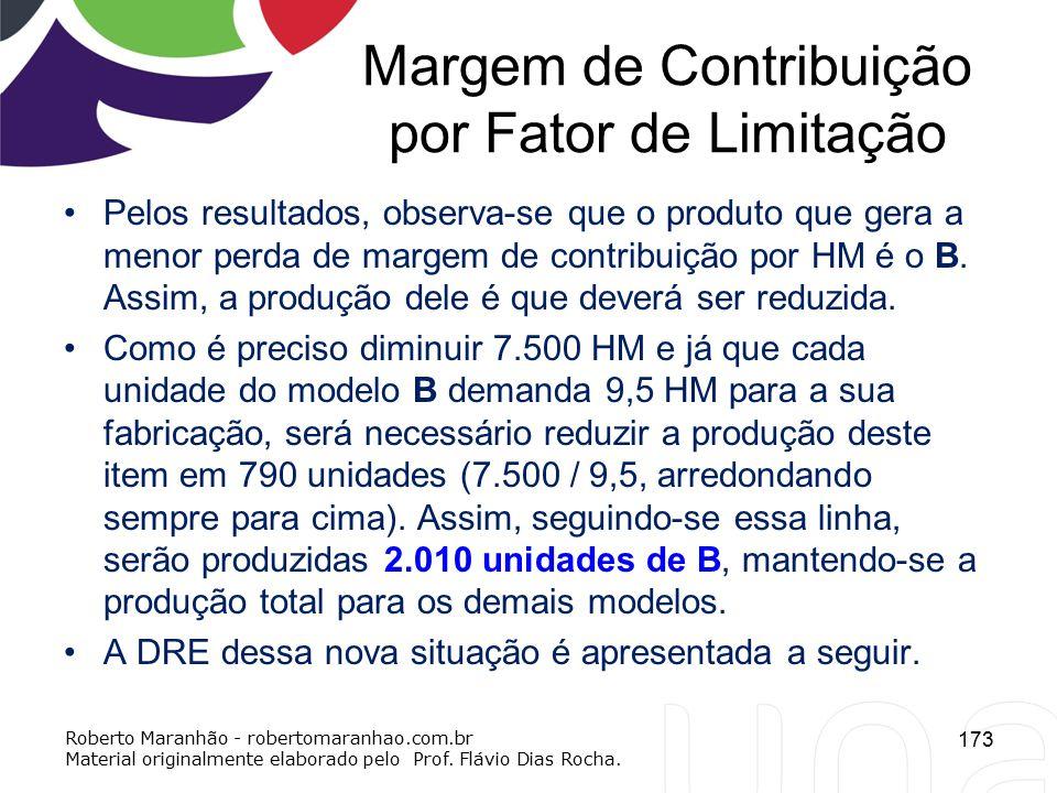 Margem de Contribuição por Fator de Limitação Pelos resultados, observa-se que o produto que gera a menor perda de margem de contribuição por HM é o B