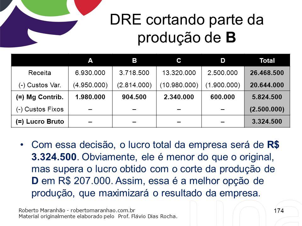 DRE cortando parte da produção de B ABCDTotal Receita6.930.0003.718.50013.320.0002.500.00026.468.500 (-) Custos Var.(4.950.000)(2.814.000)(10.980.000)
