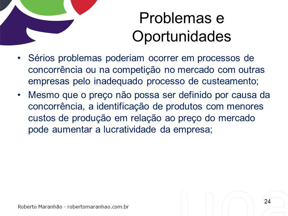 Problemas e Oportunidades Sérios problemas poderiam ocorrer em processos de concorrência ou na competição no mercado com outras empresas pelo inadequa