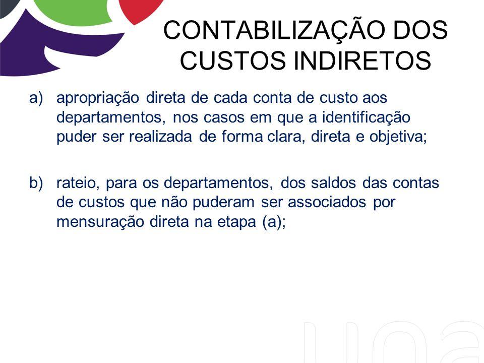 CONTABILIZAÇÃO DOS CUSTOS INDIRETOS a)apropriação direta de cada conta de custo aos departamentos, nos casos em que a identificação puder ser realizad