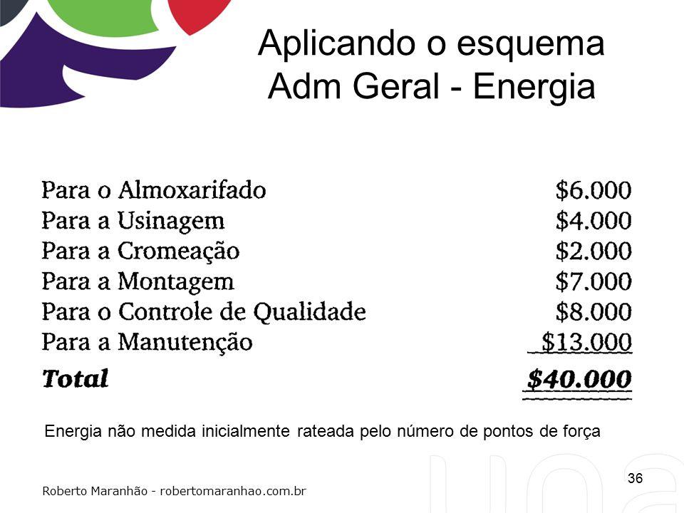 Aplicando o esquema Adm Geral - Energia 36 Roberto Maranhão - robertomaranhao.com.br Energia não medida inicialmente rateada pelo número de pontos de