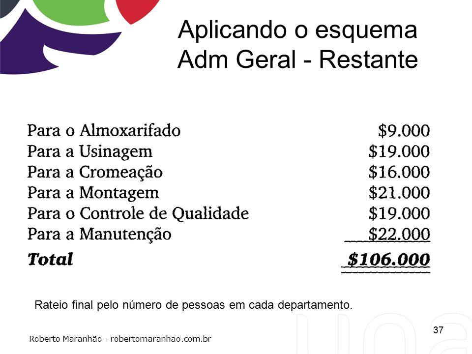 Aplicando o esquema Adm Geral - Restante 37 Roberto Maranhão - robertomaranhao.com.br Rateio final pelo número de pessoas em cada departamento.