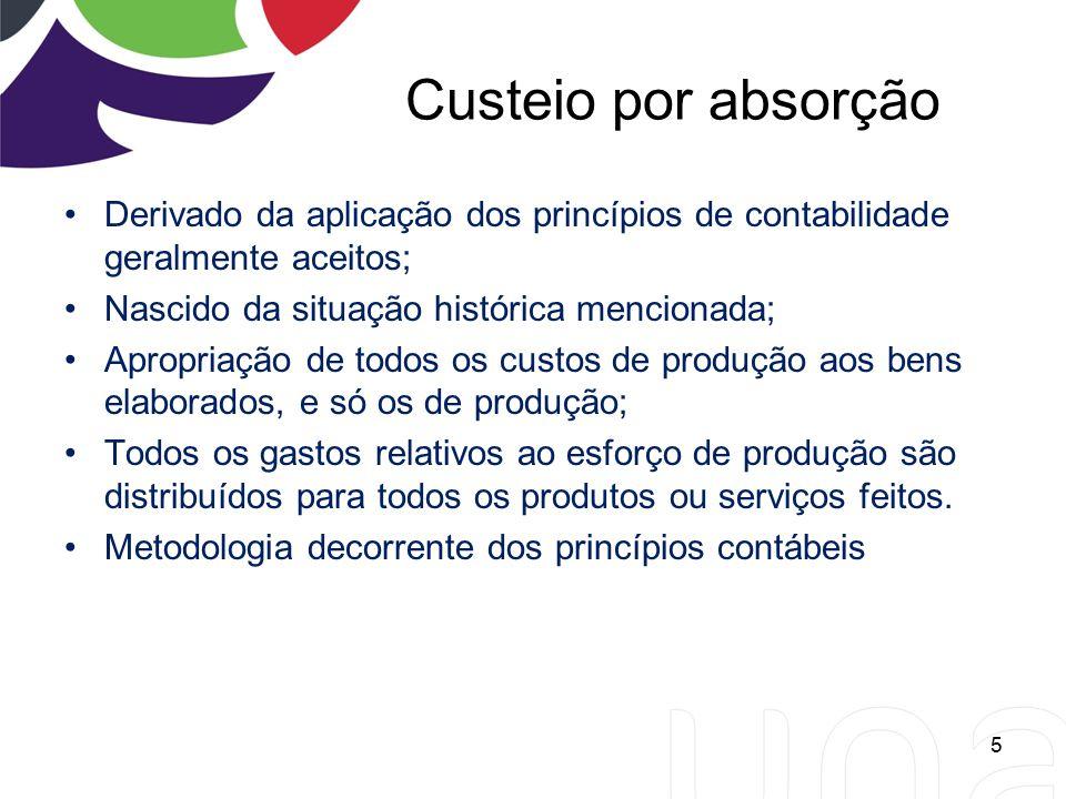 Custeio por absorção Derivado da aplicação dos princípios de contabilidade geralmente aceitos; Nascido da situação histórica mencionada; Apropriação d
