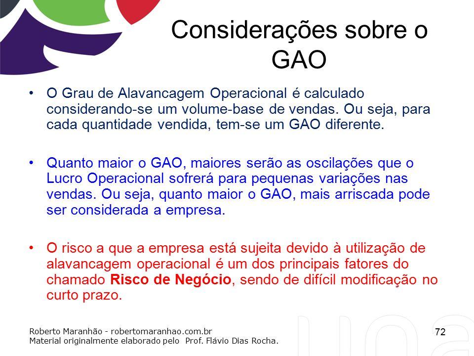Considerações sobre o GAO O Grau de Alavancagem Operacional é calculado considerando-se um volume-base de vendas. Ou seja, para cada quantidade vendid