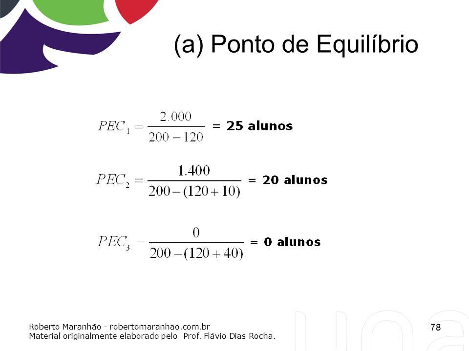 (a) Ponto de Equilíbrio 78 Roberto Maranhão - robertomaranhao.com.br Material originalmente elaborado pelo Prof. Flávio Dias Rocha.