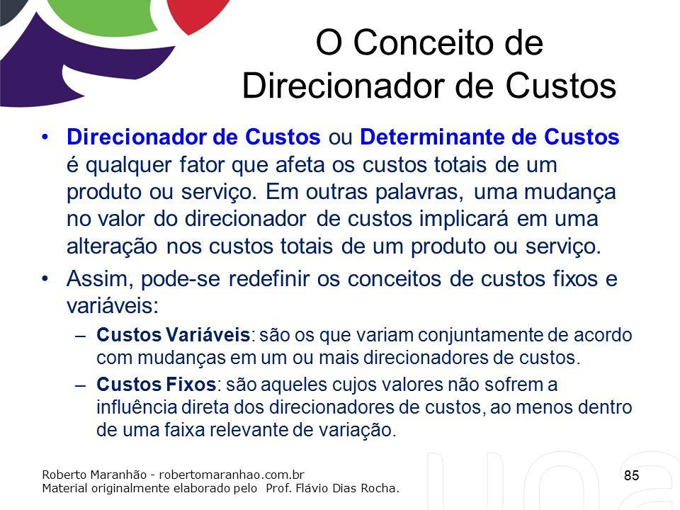 O Conceito de Direcionador de Custos Direcionador de Custos ou Determinante de Custos é qualquer fator que afeta os custos totais de um produto ou ser