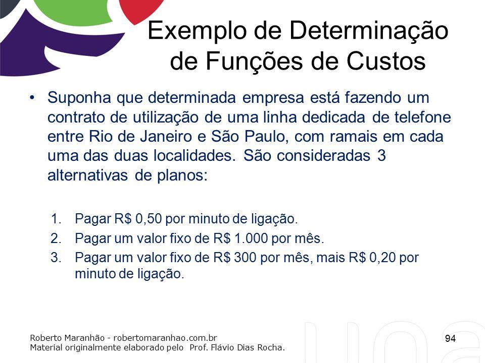 Exemplo de Determinação de Funções de Custos Suponha que determinada empresa está fazendo um contrato de utilização de uma linha dedicada de telefone