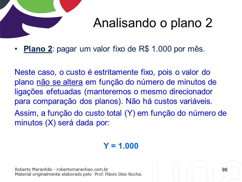 Analisando o plano 2 Plano 2: pagar um valor fixo de R$ 1.000 por mês. Neste caso, o custo é estritamente fixo, pois o valor do plano não se altera em