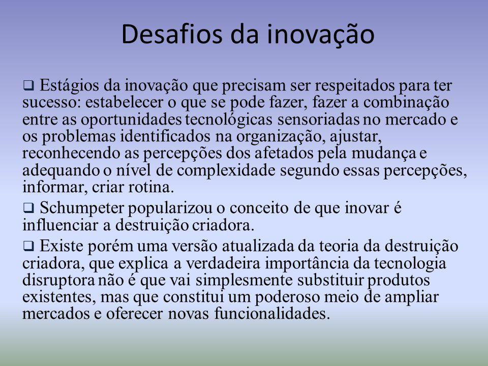 Desafios da inovação  Estágios da inovação que precisam ser respeitados para ter sucesso: estabelecer o que se pode fazer, fazer a combinação entre a