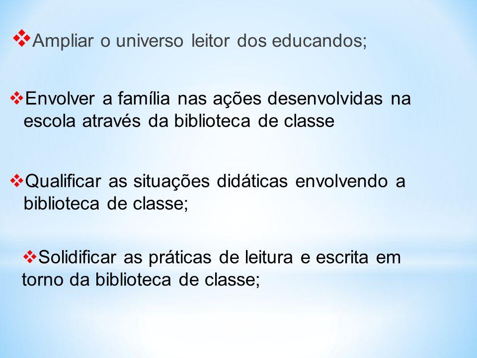  Ampliar o universo leitor dos educandos;  Qualificar as situações didáticas envolvendo a biblioteca de classe;  Envolver a família nas ações desen