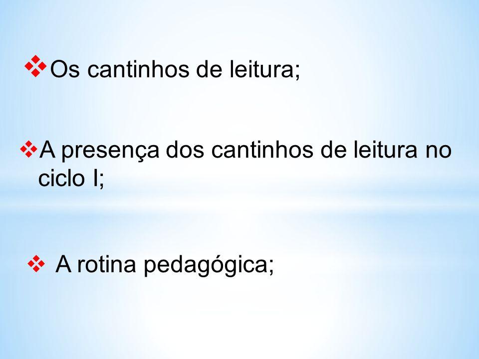  Os cantinhos de leitura;  A presença dos cantinhos de leitura no ciclo I;  A rotina pedagógica;