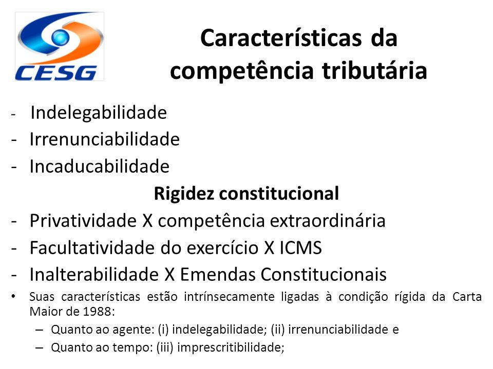 - Indelegabilidade -Irrenunciabilidade -Incaducabilidade Rigidez constitucional -Privatividade X competência extraordinária -Facultatividade do exercí