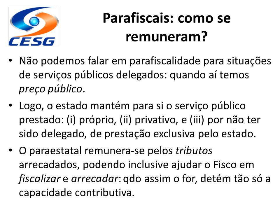 Parafiscais: como se remuneram? Não podemos falar em parafiscalidade para situações de serviços públicos delegados: quando aí temos preço público. Log