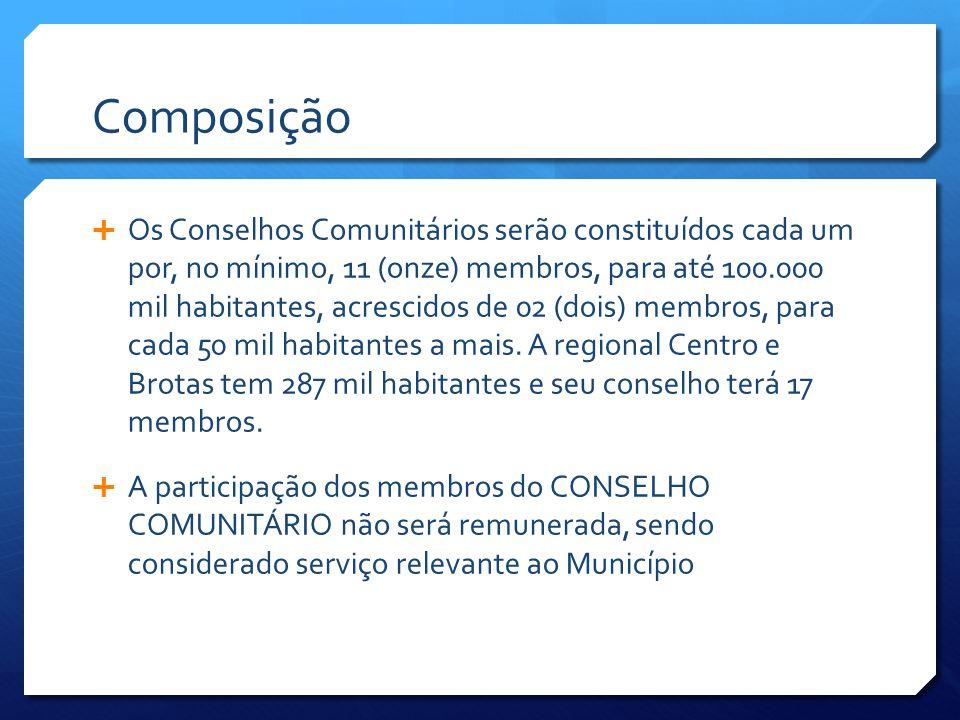 Composição  Os Conselhos Comunitários serão constituídos cada um por, no mínimo, 11 (onze) membros, para até 100.000 mil habitantes, acrescidos de 02 (dois) membros, para cada 50 mil habitantes a mais.