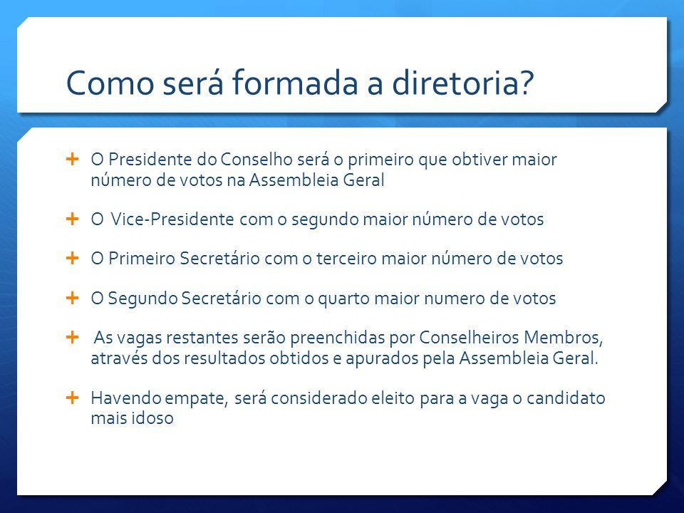 Como será formada a diretoria?  O Presidente do Conselho será o primeiro que obtiver maior número de votos na Assembleia Geral  O Vice-Presidente co