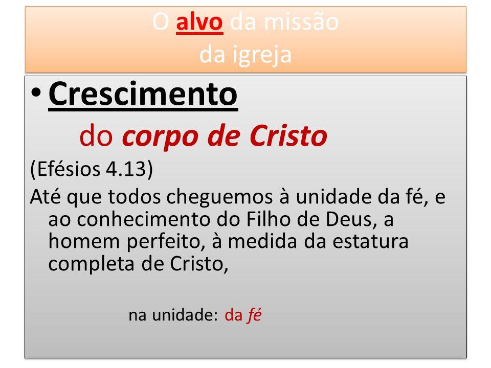 Crescimento do corpo de Cristo (Efésios 4.13) Até que todos cheguemos à unidade da fé, e ao conhecimento do Filho de Deus, a homem perfeito, à medida