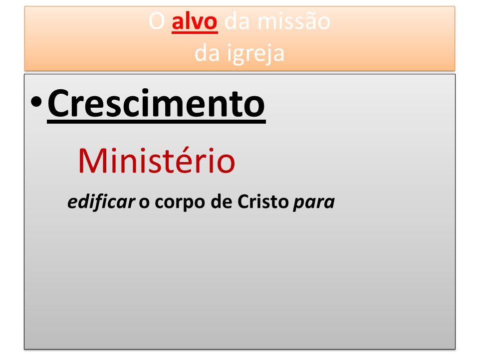 Crescimento Ministério edificar o corpo de Cristo para Crescimento Ministério edificar o corpo de Cristo para O alvo da missão da igreja O alvo da mis