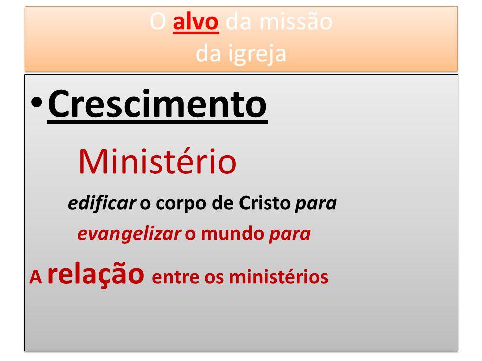 Crescimento Ministério edificar o corpo de Cristo para evangelizar o mundo para A relação entre os ministérios Crescimento Ministério edificar o corpo