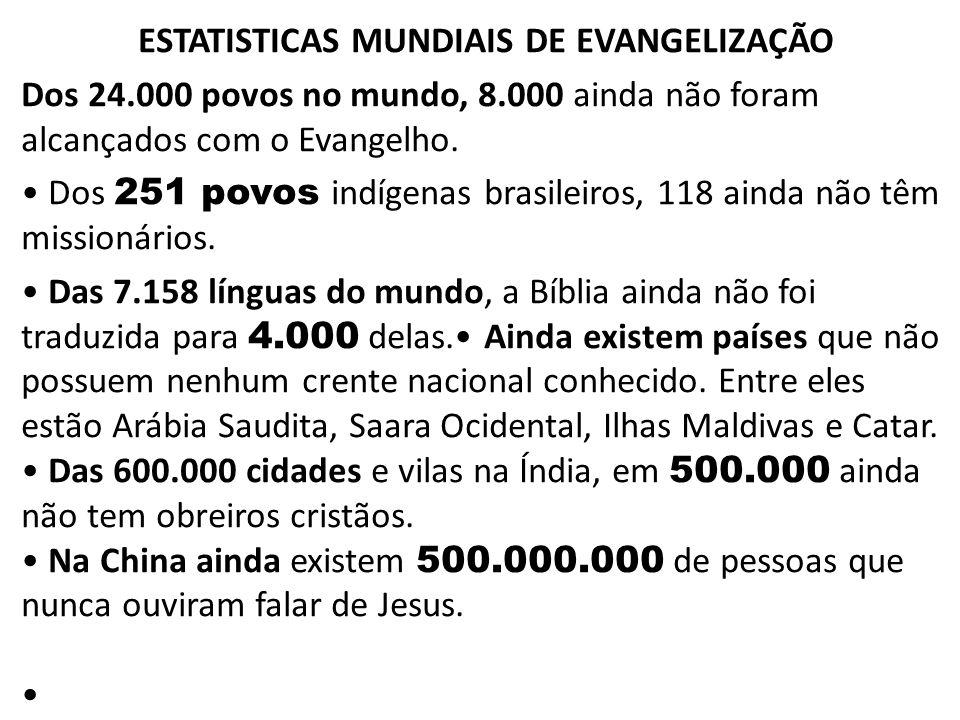ESTATISTICAS MUNDIAIS DE EVANGELIZAÇÃO Dos 24.000 povos no mundo, 8.000 ainda não foram alcançados com o Evangelho. Dos 251 povos indígenas brasileiro