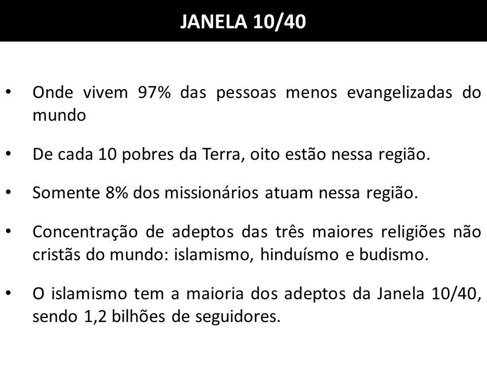 JANELA 10/40 Onde vivem 97% das pessoas menos evangelizadas do mundo De cada 10 pobres da Terra, oito estão nessa região. Somente 8% dos missionários