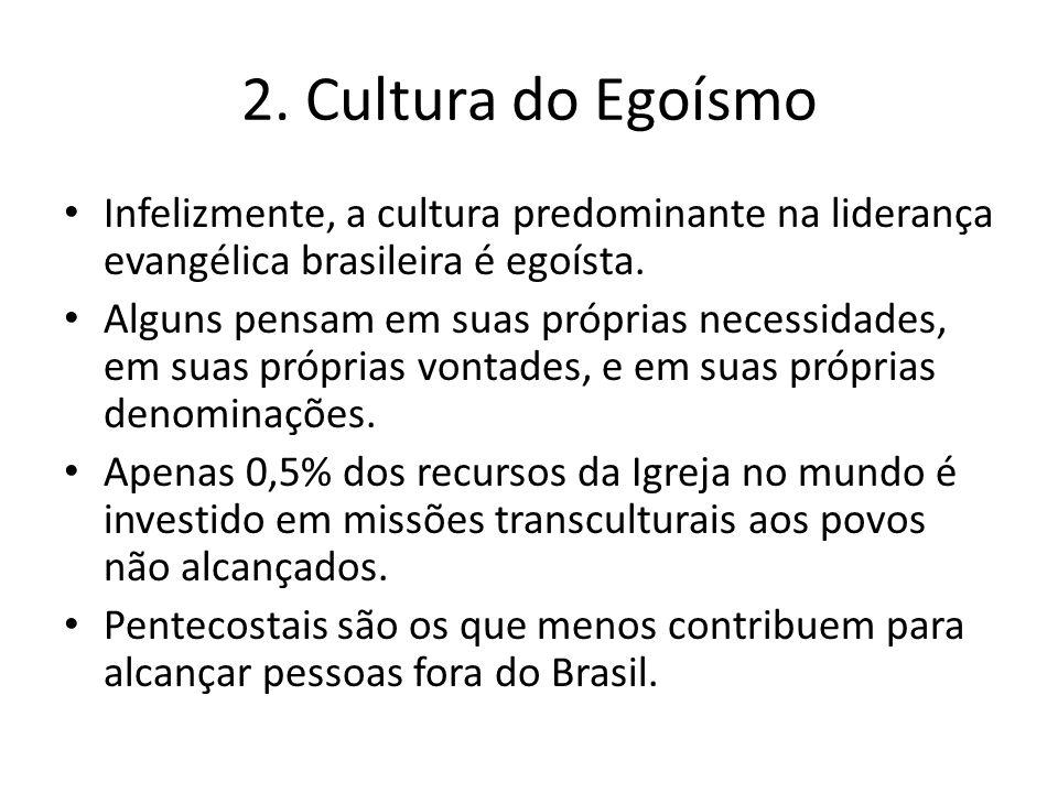 Infelizmente, a cultura predominante na liderança evangélica brasileira é egoísta. Alguns pensam em suas próprias necessidades, em suas próprias vonta