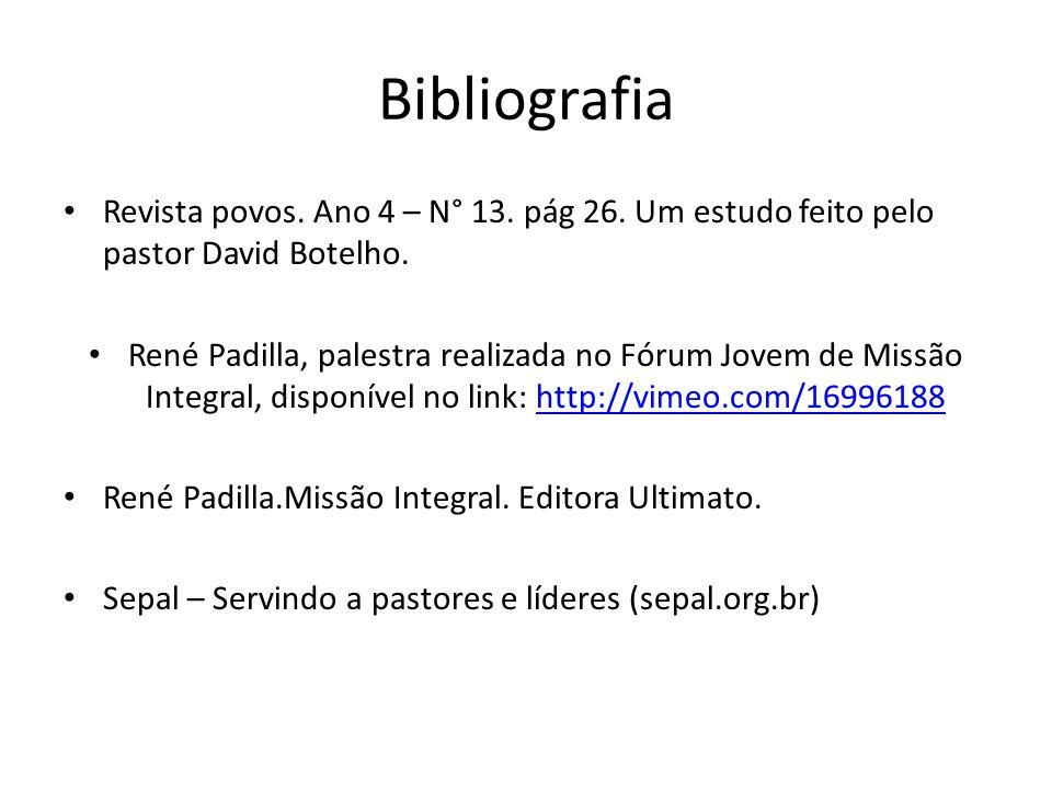 Revista povos. Ano 4 – N° 13. pág 26. Um estudo feito pelo pastor David Botelho. René Padilla, palestra realizada no Fórum Jovem de Missão Integral, d
