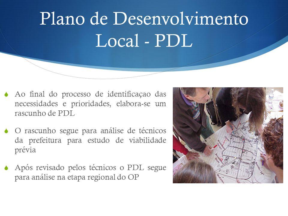 Plano de Desenvolvimento Local - PDL  Ao final do processo de identificaçao das necessidades e prioridades, elabora-se um rascunho de PDL  O rascunho segue para análise de técnicos da prefeitura para estudo de viabilidade prévia  Após revisado pelos técnicos o PDL segue para análise na etapa regional do OP