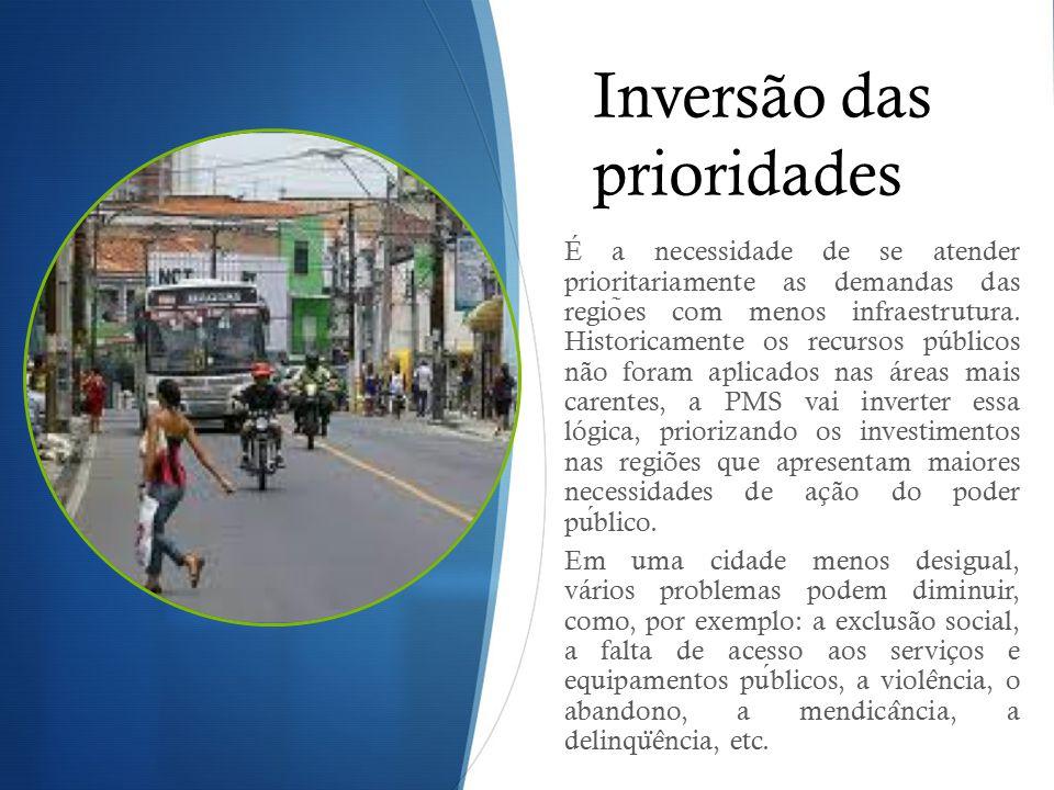 Inversão das prioridades É a necessidade de se atender prioritariamente as demandas das regio ̃ es com menos infraestrutura. Historicamente os recurso