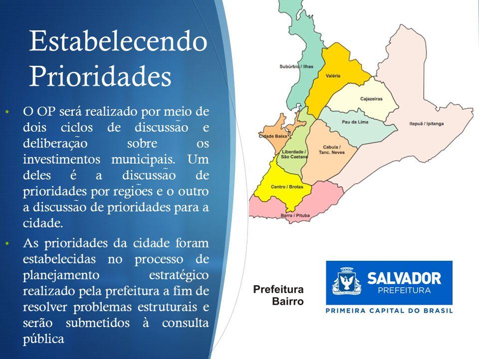 Estabelecendo Prioridades O OP será realizado por meio de dois ciclos de discussa ̃ o e deliberac ̧ a ̃ o sobre os investimentos municipais.