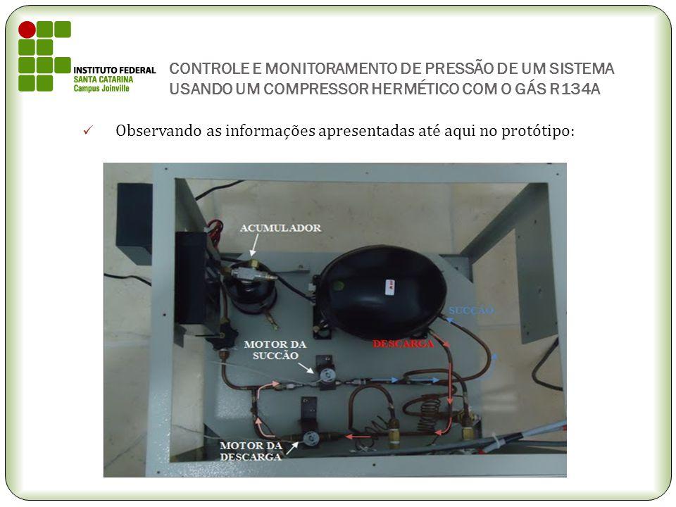 CONTROLE E MONITORAMENTO DE PRESSÃO DE UM SISTEMA USANDO UM COMPRESSOR HERMÉTICO COM O GÁS R134A Observando as informações apresentadas até aqui no pr